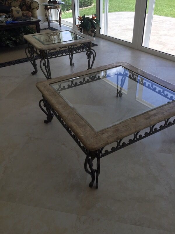Iron With Fossil Stone Glass All In Great Condition Bar Stools Wine Rack End Table Coffee