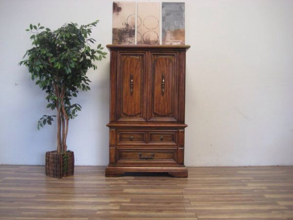 $225SOLD - Vintage Stanley Furniture Brand Solid Wood Armoire For Sale In Costa
