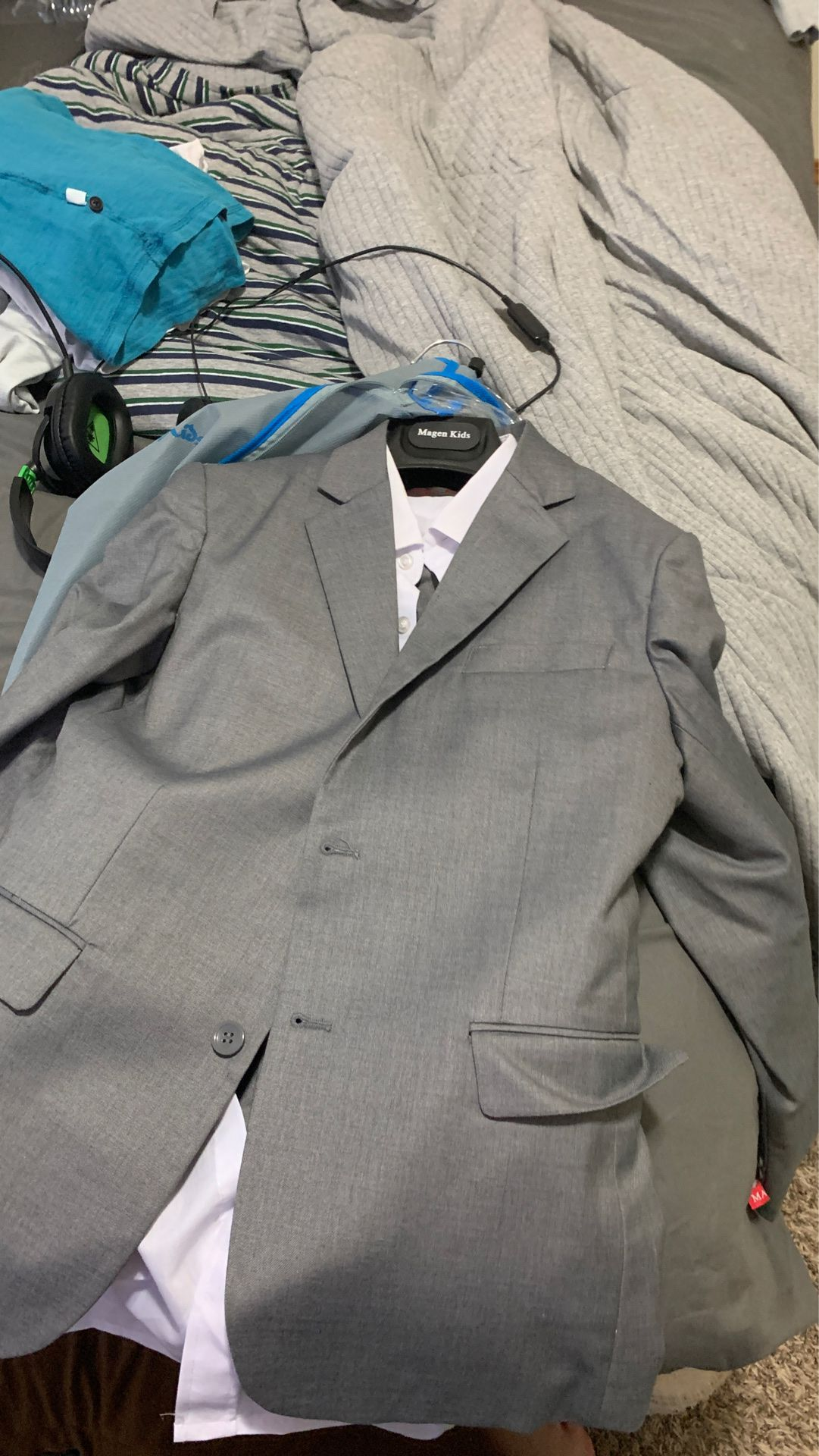 Boys gray and white suit size 12