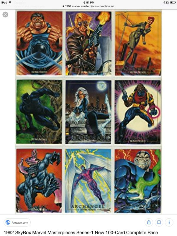 806786abef9 1992 Marvel Masterpieces Card set ( 1-100 ) for Sale in Vista
