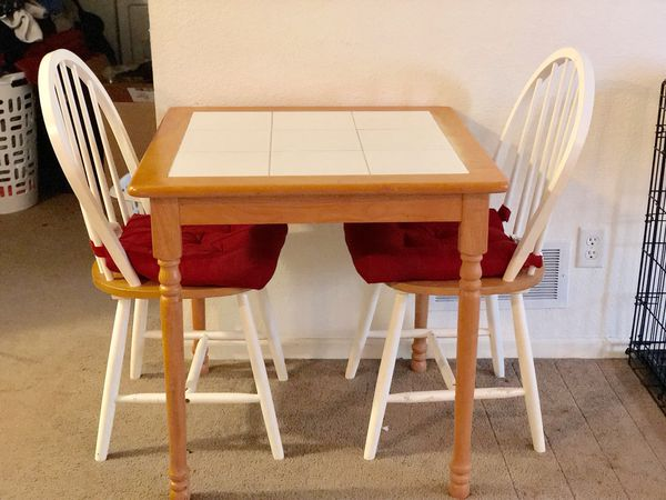 Light Brown Wooden Table White Tiles Chairs Included Plymouth