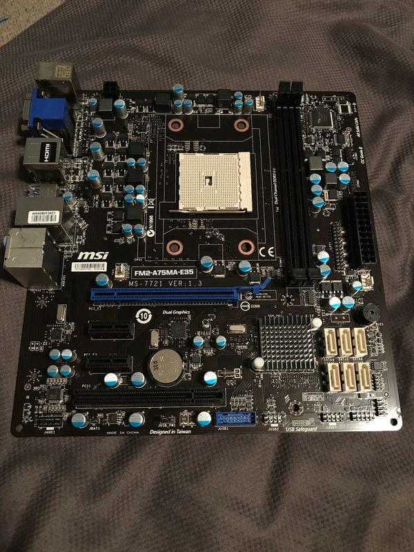 MSI Motherboard FM2-A75MA-E35 MS-7721 VER 1 3 for Sale in Lynn, MA - OfferUp