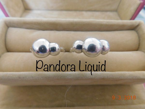 c10dced62 Retired Pandora Liquid 3 Bubble Sterling Silver Ring size 6½ (190702 ...