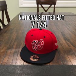 MLB New Era Washington Nationals Red Blue Brim 59fifty Fitted Hat Size 7 1/4  Thumbnail