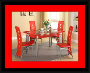 Glass red dining table with leather chairs for Sale in Takoma Park, MD