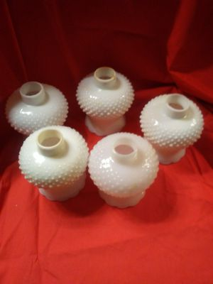 Photo 5 Vintage Milk Glass Hobnail Chandelier Globes