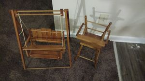 Handmade large doll high chair and swing set for Sale in Columbus, OH