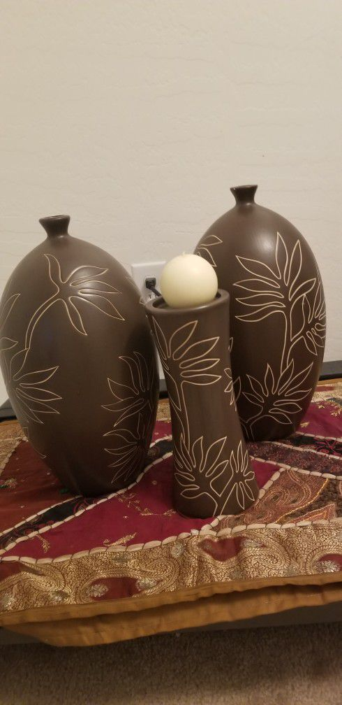 Heavy ceramic vases with Candle holder +Candle