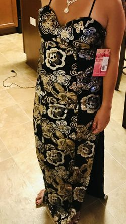 Black Silver And Gold Formal Prom Quinceanera Dress Thumbnail