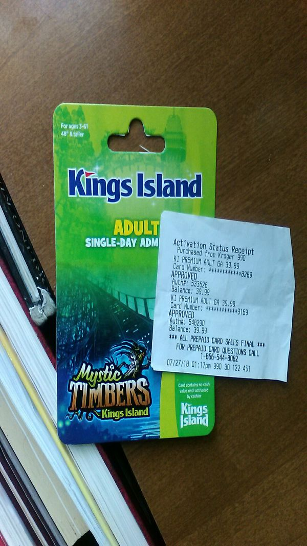 2 Tickets To Kings Island For In
