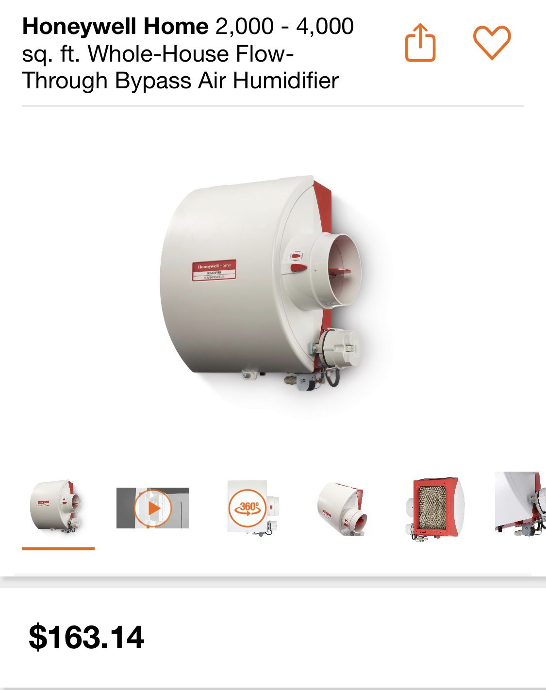 HONEYWELL 2,000-4,000 sq. ft Whole House Air Humidifier