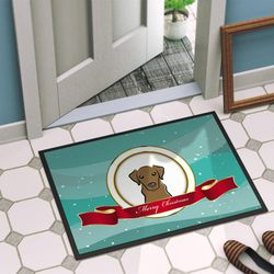 Caroline's Treasures BB1544JMAT Chocolate Labrador Merry Christmas Indoor or Outdoor Mat 24x36 , 24H X 36W, multicolor Thumbnail