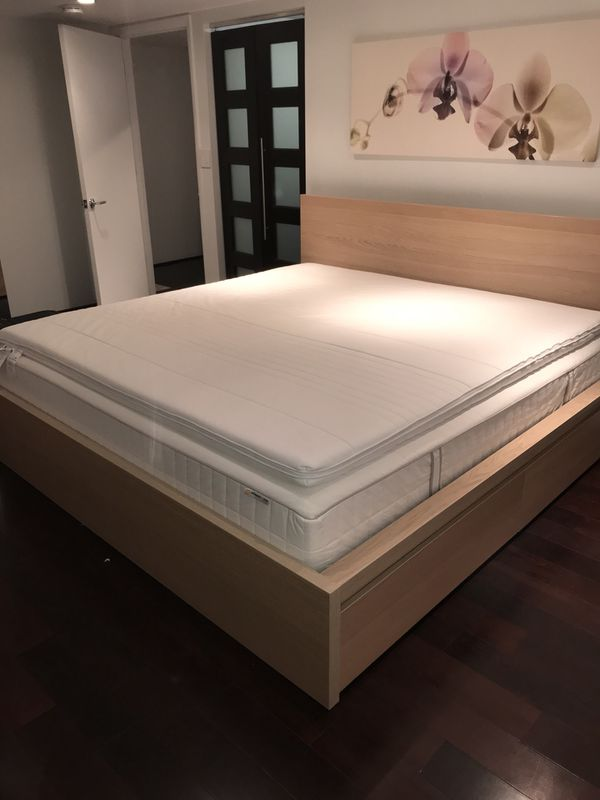 5f264c3140c GREAT DEAL IF PICKED UP BY 07 29  IKEA MALM KING Bed with 4 rolling ...