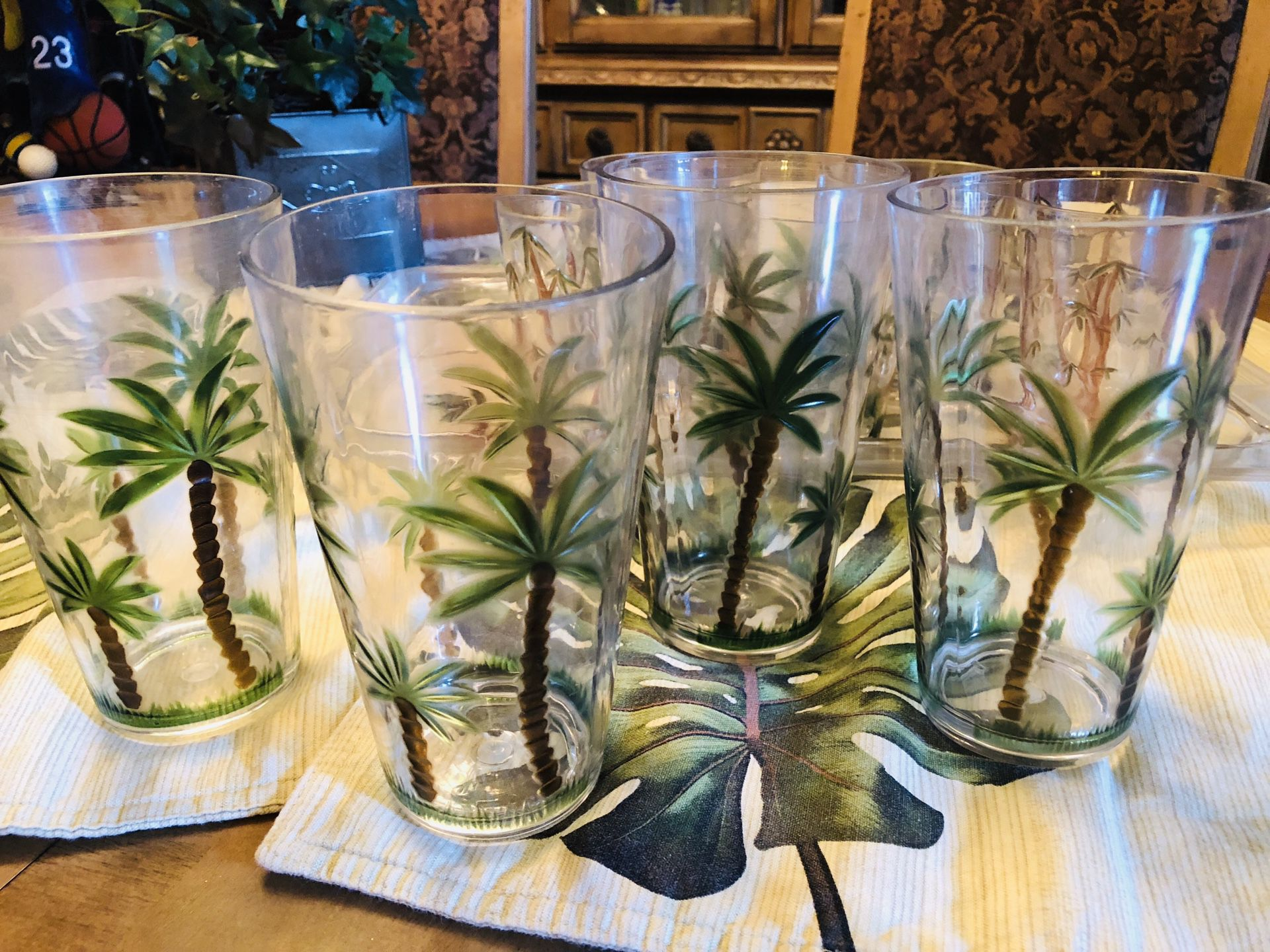Palm Tree Acrylic Pitcher and Glasses