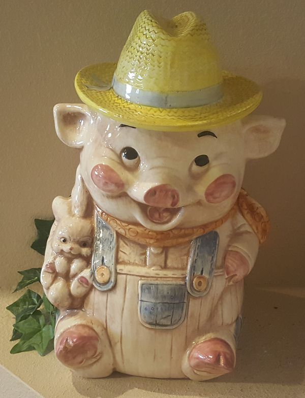 1804800f68200 Vintage Farmer Pig Cookie Jar By Treasure Craft USA for Sale in ...