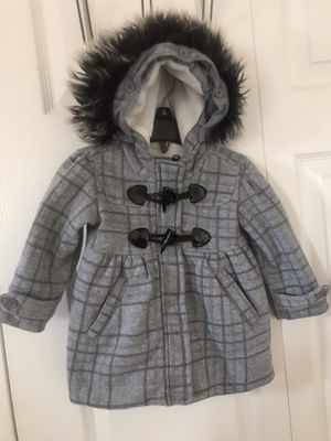 Me jane baby girls gray & black plaid hooded coat size 12m(pick up only) for Sale in Alexandria, VA