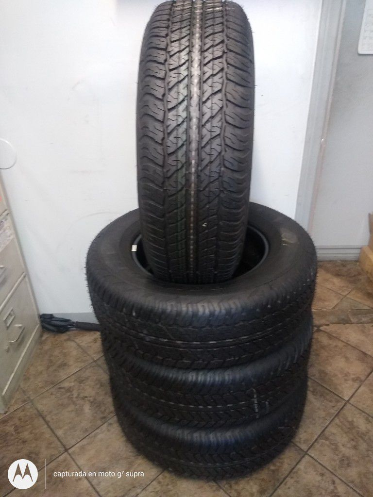set Of Four Dunlop 265/65/17 Semi New 95% Tread Life $199  Price Include Professional Installation And  Tax.