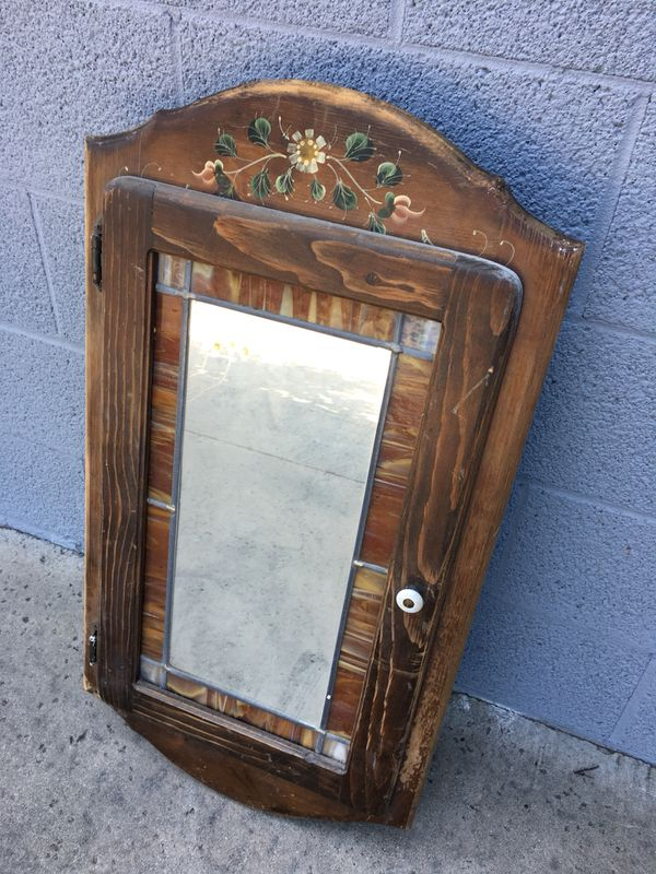 Vintage Antique Wooden Stained Gl Mirror Medicine Cabinet Rare For In Fontana Ca Offerup