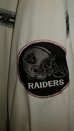 Vintage 90s RAIDERS pro player thin jacket white with Raiders Thumbnail