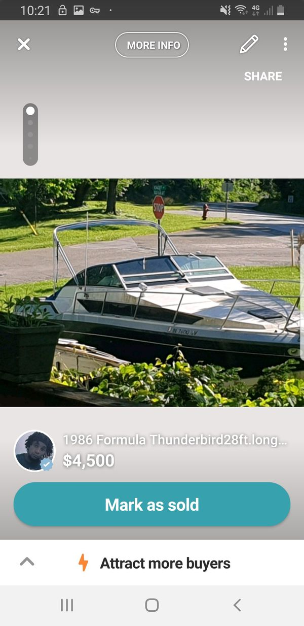 1986 formula thunderbird plus comes with a 28ft.long with 10 beam trailer is 2006 tri axle aluminum