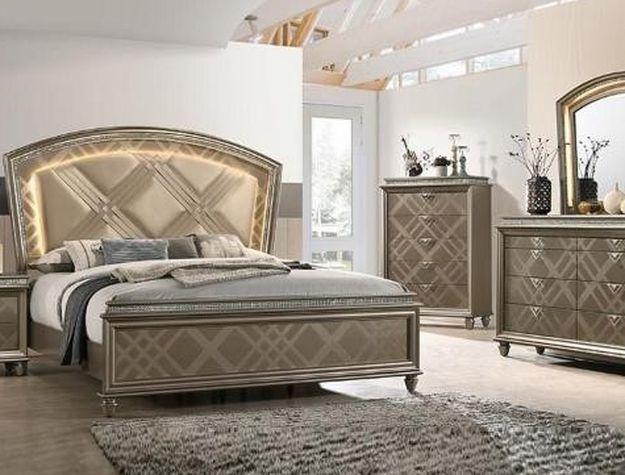 Cristal Gold LED Panel Bedroom Set