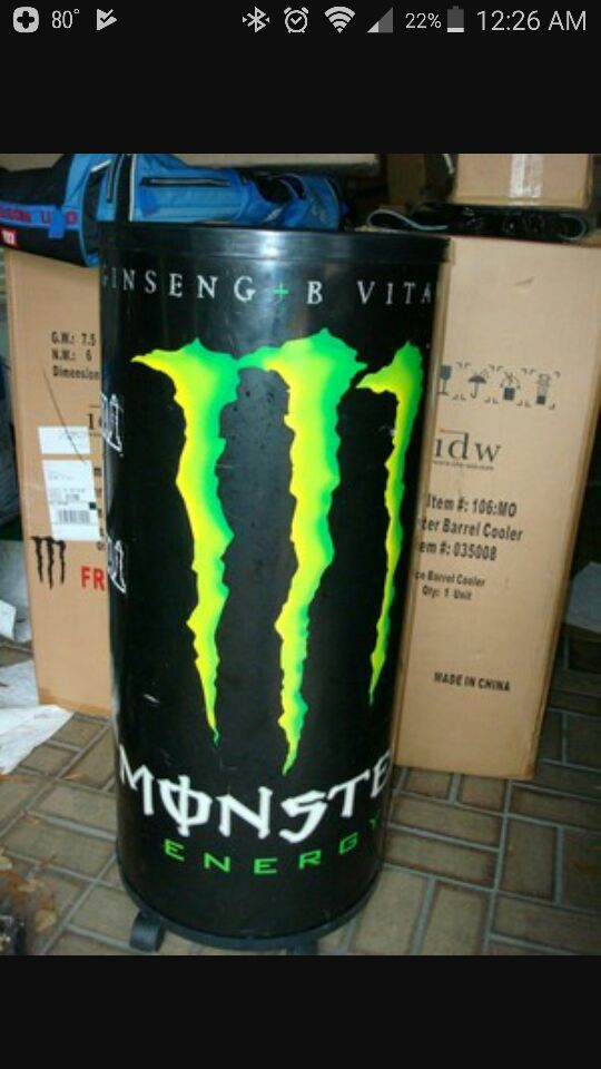 Softball Bats For Sale >> Monster Energy Drink Rolling Ice Barrel Cooler for Sale in ...