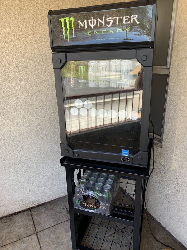 Monster Energy Mini Fridge, Matching Stand, FREE MONSTER ENERGY DRINKS for  Sale in Pasadena, CA - OfferUp