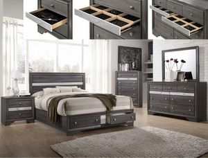 Photo Crown Mark, Regata Gray/Silver Storage Platform Bedroom Set | B4650