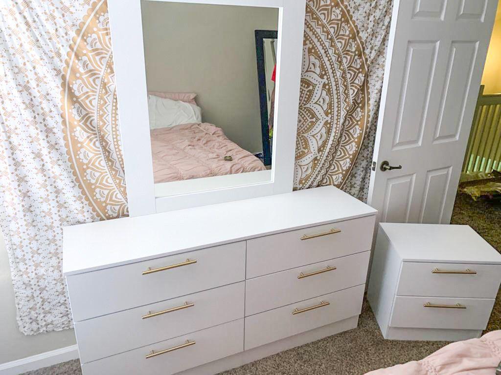 New White Dresser Mirror And 2 Nightstands Golden Handles