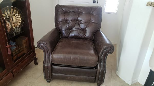 Pottery Barn Patterson Tufted Leather Chair Recliner For