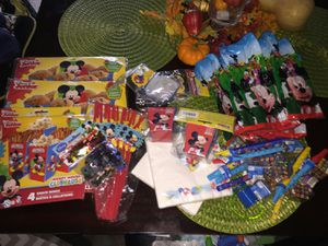 Sesame Street birthday supplies. Brand new and gently used. Birthday banner, swirl decorations, wall decoration kit, cake plates, confetti for Sale in Rockville, MD