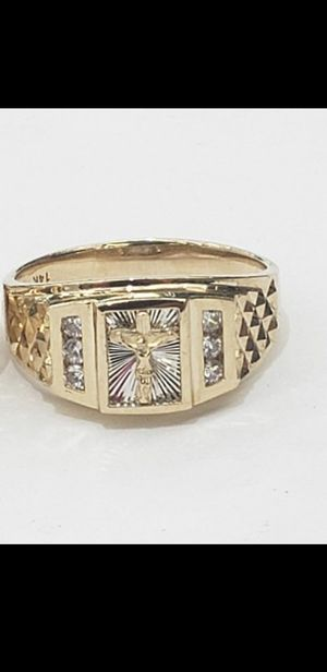 Photo Mens 14k Yellow real gold Jesus cross ring size 10