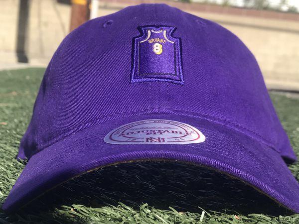 96bcc1140361 Mitchell   Ness Hardwood Classics Los Angeles Lakers Kobe Bryant  8 strap  back Dad hat