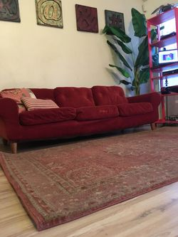 Modern Mid-Century Rustic Orange Couch Thumbnail