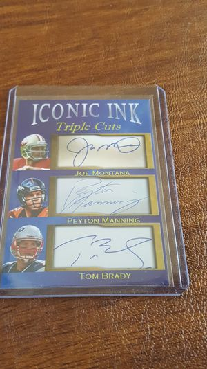 Photo Joe Montana Peyton Manning Tom Brady ikonic ink facsimile autos