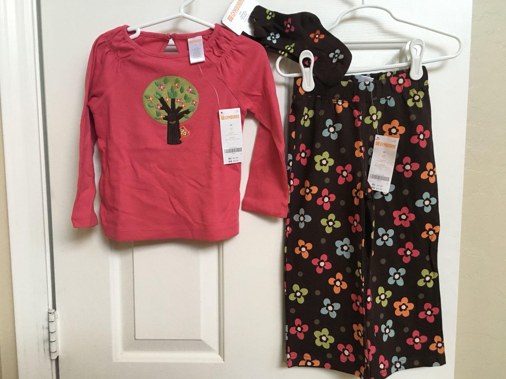 Gymboree, girls clothes, 2T, shirt, socks, pants, NWT