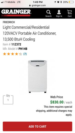 Light Commercial/Residential 120VACV Portable Air Conditioner 13,500 BtuH Cooling for Sale in Washington, DC