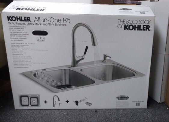 Kohler all in one kit, Sink, Faucet, Utility Rack, and sink ...