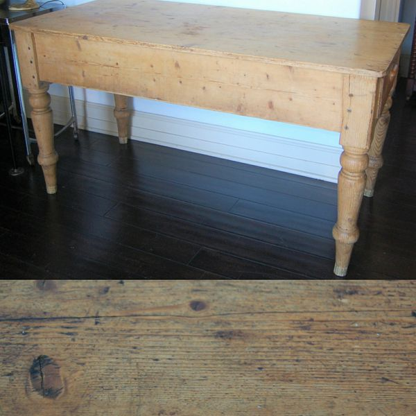 Antique English Pine Farm Table With Drawer For In