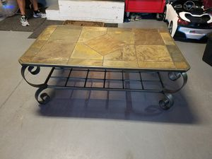 Coffee Table Heavy Solid Iron and Stone top for Sale in Orlando, FL