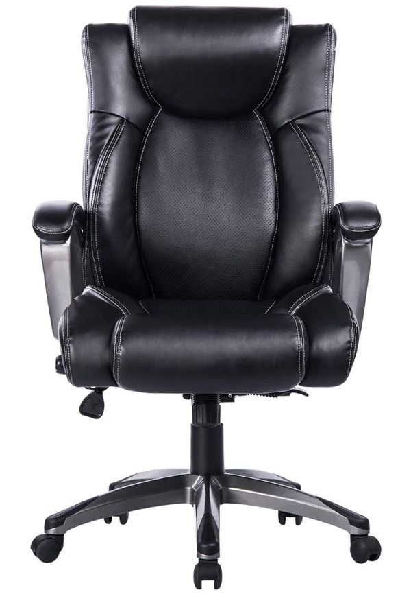 Bonded Leather Memory Foam Office Chair Adjule Lumbar Support And Tilt Angle High Back Executive Computer Desk Thick Padding For Co