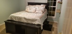 Queen size bed frame with storage gallore for Sale in Manassas, VA