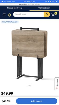 Mainstays 5-Piece Folding Tray Table Set with Stand Thumbnail