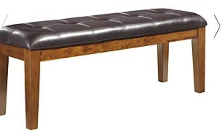 Dinnig Table With 4 Chairs And Bench Dark Chocolate  Bench Has Small  Tear On One