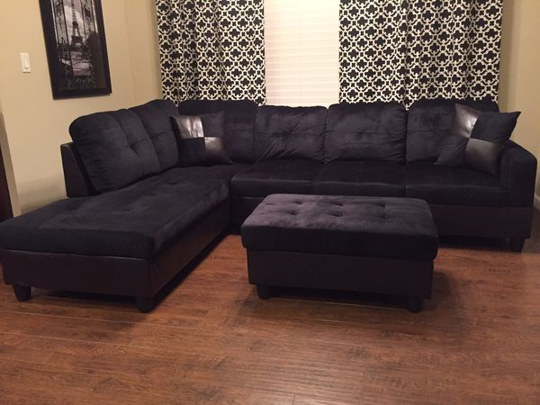 New black microfiber Sectional Sofa with storage ottoman and two free  pillows! Delivery for Sale in Bellevue, WA - OfferUp