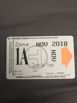 NOV T-pass + zone 1A for Sale in Brookline, MA