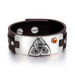 Celtic Triquetra Knot Powers Amulet Tag Red Jasper Gemstone Adjustable Dark Brown Leather Bracelet Thumbnail