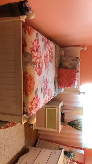 BEDROOM SET - 1 twin bed frame, 1 dresser with mirror, 1 nightstand, 1 floor mirror for Sale in Alexandria, VA