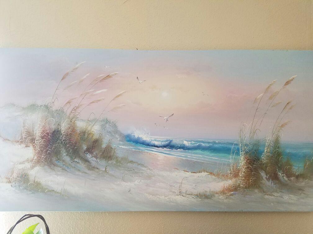 Large J Thompson Beach Canvas Painting