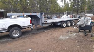 Photo Goose Neck 30footer car trailer with ramp compartment and ramps